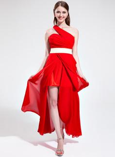 A-Line/Princess One-Shoulder Asymmetrical Chiffon Holiday Dress With Ruffle Sash Split Front