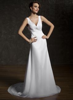 A-Line/Princess V-neck Court Train Chiffon Wedding Dress With Ruffle Lace Beading