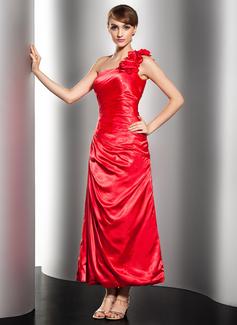 Corte A/Princesa Un sólo hombro Hasta el tobillo Charmeuse Vestido de festivo con Volantes