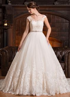 Corte de baile Escote redondo Tren de la catedral Tul Vestido de novia con Bordado Los appliques Encaje Lentejuelas