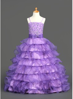 Ball Gown Floor-length Flower Girl Dress - Organza/Satin Sleeveless Straps With Ruffles/Beading/Sequins