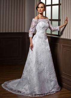 Corte A/Princesa Hombros caídos Cola corte Satén Encaje Vestido de novia con Bordado