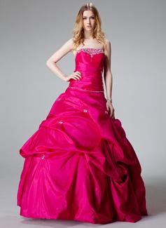 Duchesse-Linie Trägerlos Bodenlang Taft Quinceañera Kleid (Kleid für die Geburtstagsfeier) mit Rüschen Perlen verziert