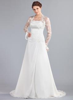 A-linjeformat Axelbandslös Court släp Chiffong Bröllopsklänning med Rufsar Spetsar Pärlbrodering