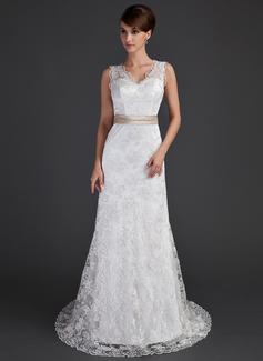 A-linjeformat V-ringning Court släp Spetsar Bröllopsklänning med Skärpband Pärlbrodering Rosett/-er