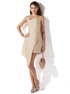 Sheath/Column V-neck Asymmetrical Taffeta Homecoming Dress With Beading Appliques Lace Sequins