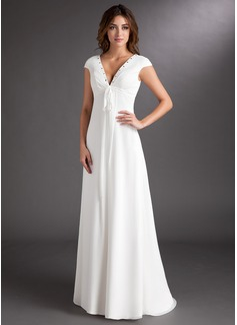 A-Line/Princess V-neck Sweep Train Chiffon Wedding Dress With Ruffle Beading