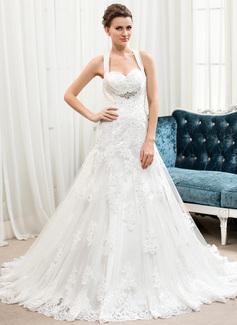 Corte A/Princesa Escote corazón Cola corte Satén Tul Encaje Vestido de novia con Bordado Lentejuelas