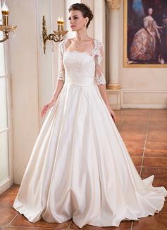 Corte de baile Escote Cuadrado Barrer/Cepillo tren Satén Vestido de novia con Volantes Encaje Bordado Lentejuelas