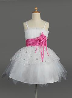 Empire Knee-length Flower Girl Dress - Tulle/Charmeuse Sleeveless Scalloped Neck With Sash/Flower(s)/Sequins