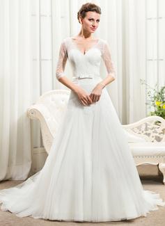 Corte A/Princesa Escote en V Tren de la catedral Tul Charmeuse Encaje Vestido de novia con Lazo(s)