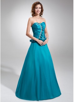 A-Line/Princess Sweetheart Floor-Length Taffeta Quinceanera Dress With Ruffle Beading