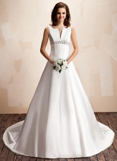 Corte A/Princesa Escote en V Cola capilla Satén Vestido de novia con Bordado