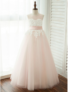 A-Line/Princess Floor-length Flower Girl Dress - Tulle/Lace Sleeveless Scoop Neck With Appliques