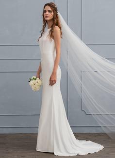 Trumpet/Mermaid Scoop Neck Sweep Train Jersey Wedding Dress