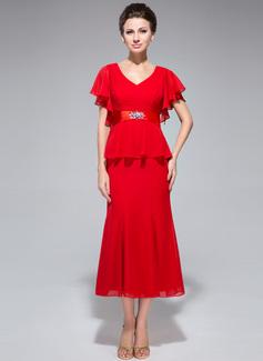 Trumpet/Mermaid V-neck Tea-Length Chiffon Mother of the Bride Dress With Beading Cascading Ruffles