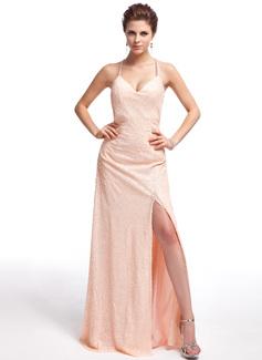 Vestido tubo Escote corazón Hasta el suelo Con lentejuelas Vestido de baile de promoción con Apertura frontal