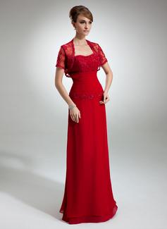 A-formet/Prinsesse Sweetheart Gulvlengde Chiffong Kjole til brudens mor med Frynse Blonder Perlebesydd Paljetter