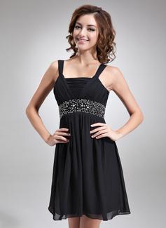 Empire Square Neckline Short/Mini Chiffon Homecoming Dress With Ruffle Beading