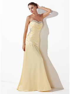 A-Line/Princess Sweetheart Floor-Length Charmeuse Prom Dress With Ruffle Beading Sequins