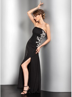 A-Line/Princess Strapless Floor-Length Chiffon Evening Dress With Ruffle Beading Appliques Lace Sequins Split Front