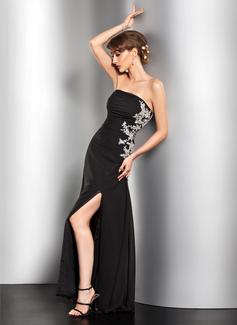 A-Linie/Princess-Linie Trägerlos Bodenlang Chiffon Abendkleid mit Rüschen Perlen verziert Applikationen Spitze Pailletten Schlitz Vorn
