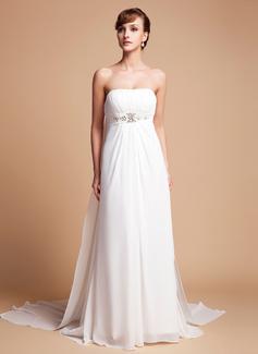 Empire Strapless Watteau Train Chiffon Wedding Dress With Ruffle Beading