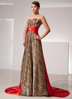 A-Linie/Princess-Linie Herzausschnitt Watteau-falte Charmeuse Abendkleid mit Schleifenbänder/Stoffgürtel Perlen verziert