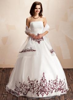Duchesse-Linie Trägerlos Bodenlang Organza Quinceañera Kleid (Kleid für die Geburtstagsfeier) mit Bestickt Rüschen Perlen verziert Pailletten