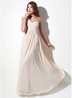 A-Line/Princess One-Shoulder Floor-Length Chiffon Holiday Dress With Ruffle Lace Beading