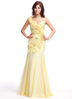 Corte A/Princesa Un sólo hombro Hasta el suelo Chifón Vestido de baile de promoción con Volantes Bordado Flores Lentejuelas
