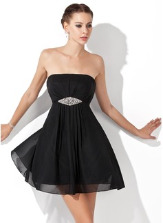 Empire Strapless Short/Mini Chiffon Homecoming Dress With Ruffle Beading
