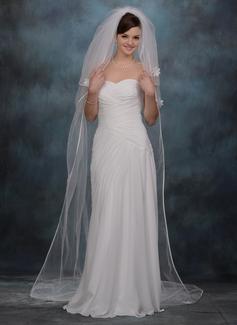 Tres capas Velos de novia capilla con Con lazo