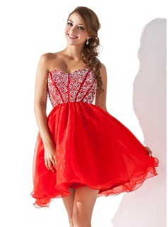 A-Line/Princess Sweetheart Short/Mini Organza Homecoming Dress With Beading Sequins