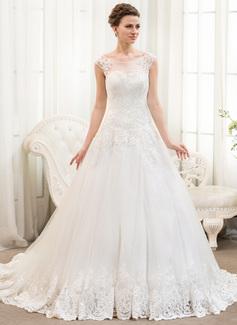 Corte de baile Escote redondo Cola capilla Tul Encaje Vestido de novia con Bordado Lentejuelas