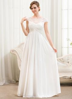 Corte A/Princesa Escote redondo Hasta el suelo Chifón Tul Vestido de novia con Volantes Los appliques Encaje