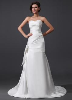 Corte A/Princesa Escote corazón Cola corte Satén Vestido de novia con Volantes Lazo(s)