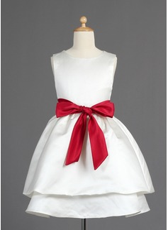 A-Line/Princess Tea-length Flower Girl Dress - Satin Sleeveless Scoop Neck With Sash/Bow(s)