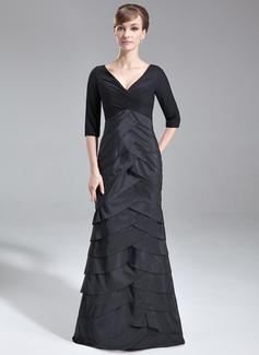 Trumpet/Mermaid V-neck Sweep Train Chiffon Taffeta Mother of the Bride Dress With Ruffle