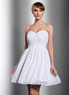 Empire Sweetheart Short/Mini Chiffon Bridesmaid Dress With Ruffle