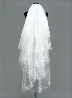 Seis capas Velos de novia vals con Corte de borde