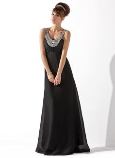 Empire-Linie U-Ausschnitt Bodenlang Chiffon Abendkleid mit Rüschen Perlen verziert