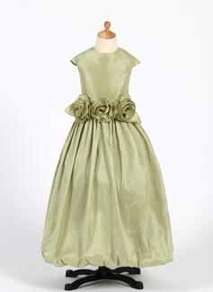 A-Line/Princess Floor-length Flower Girl Dress - Taffeta Sleeveless Scoop Neck With Ruffles/Flower(s)