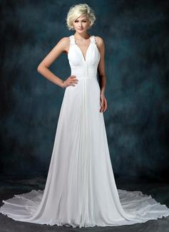 Corte A/Princesa Escote en V Cola capilla Chifón Vestido de novia con Volantes Bordado Los appliques Encaje