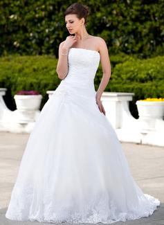 Balklänning Axelbandslös Chapel släp Satäng Organzapåse Bröllopsklänning med Spetsar Pärlbrodering