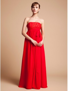 Empire Strapless Floor-Length Chiffon Maternity Bridesmaid Dress With Beading Sequins Bow(s)