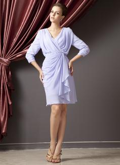 Sheath/Column V-neck Knee-Length Chiffon Mother of the Bride Dress With Cascading Ruffles