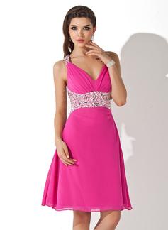 A-Line/Princess V-neck Knee-Length Chiffon Cocktail Dress With Beading