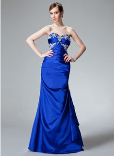Trumpet/Mermaid Sweetheart Floor-Length Charmeuse Evening Dress With Beading Cascading Ruffles