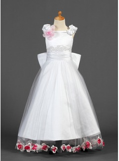 A-Line/Princess Floor-length Flower Girl Dress - Satin/Tulle Sleeveless Off-the-Shoulder With Lace/Beading/Flower(s)/Bow(s)